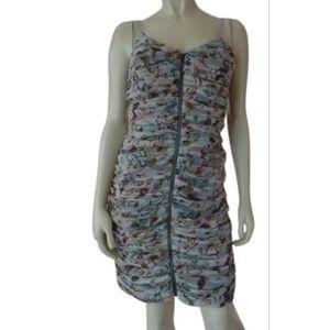 Boston Proper Dress 6 Zio Front Poky Ruched Drapes